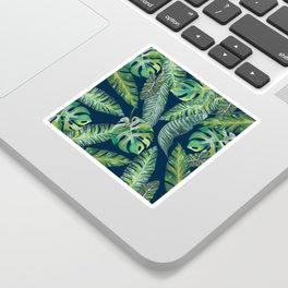 Jungle Leaves, Banana, Monstera, Blue Sticker
