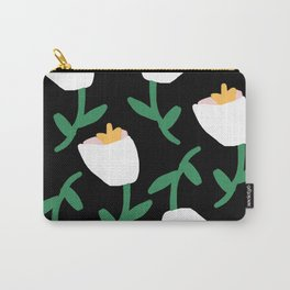 Tulips Dancing in White on Black Carry-All Pouch