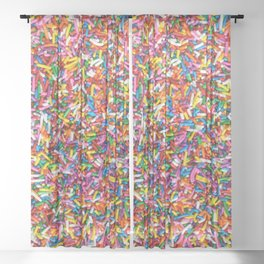 Rainbow Sprinkles Sweet Candy Colorful Sheer Curtain