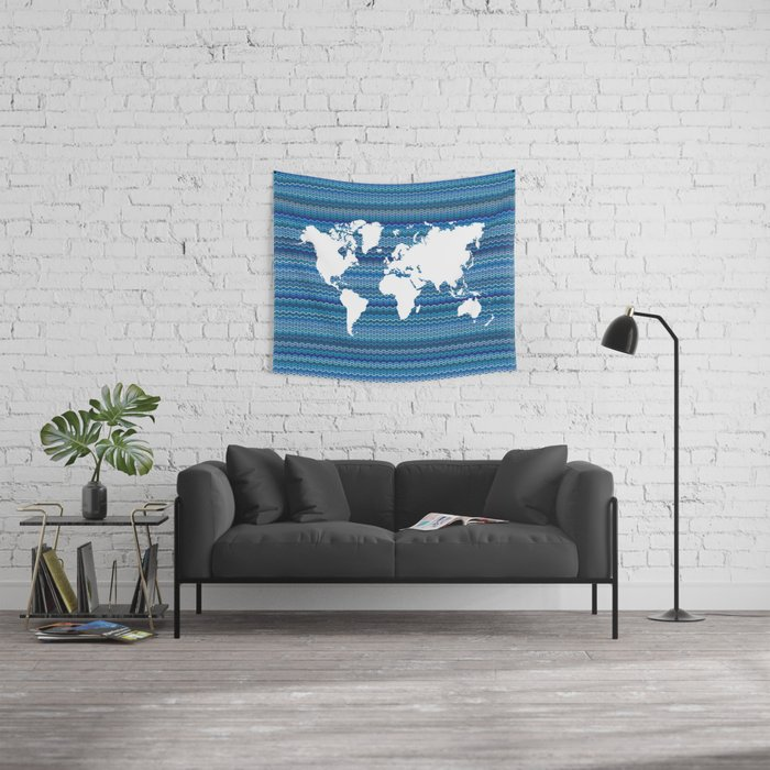 Wavy World Map Blue Wall Tapestry