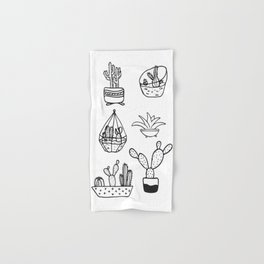 Minimalist Cacti Collection Black and White Hand & Bath Towel