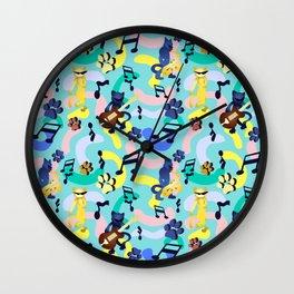 Nineties Jazz Cats Pattern Wall Clock