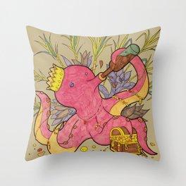 octopus king light Throw Pillow