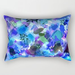 Blue Tulip Floral Rectangular Pillow