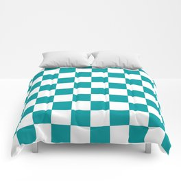 Blue, Teal: Checkered Pattern Comforters