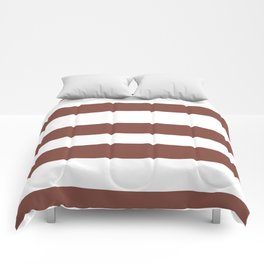 Inspired by Dunn Edwards Spice of Life DET439 Hand Drawn Fat Horizontal Lines on White Comforters