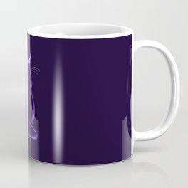 Sitting Cat from behind in Purple Coffee Mug