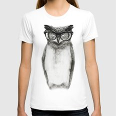 Mr. Owl White Womens Fitted Tee MEDIUM