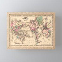 1861 World Map - Johnson's World on Mercators Projection Framed Mini Art Print