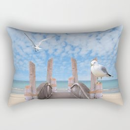 Dock on Beach with Seagulls A340 Rectangular Pillow