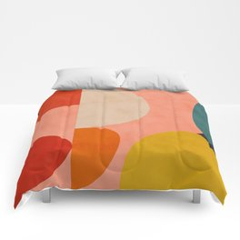 geometry shape mid century organic blush curry teal Comforters