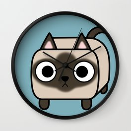 Cat Loaf - Siamese Kitty with Crossed Eyes Wall Clock