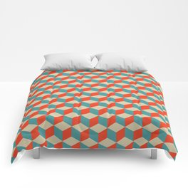 cube pattern blue orange cream Comforters
