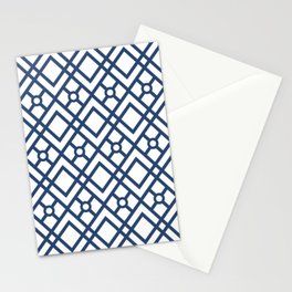 Modern Geometric Diamonds and Circles Pattern Navy Blue and White Stationery Cards