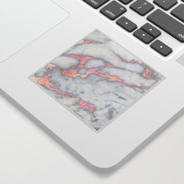 Rosegold Pink on Gray Marble Metallic Foil Style Sticker