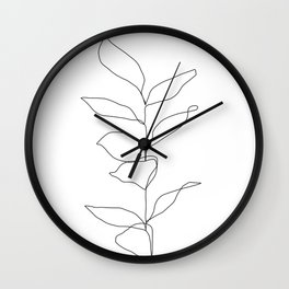 Plant one line drawing illustration - Kay Wall Clock