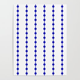 Geometric Droplets Pattern Linked - Navy Blue on White Poster