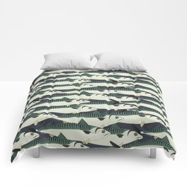 Mackerel fish close up Comforters