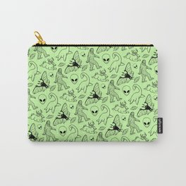 Cryptid Pattern: Black on Green Carry-All Pouch