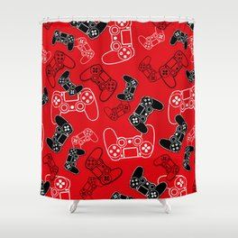 Video Games Red Shower Curtain