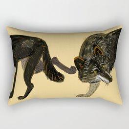 Black wolf totem Rectangular Pillow