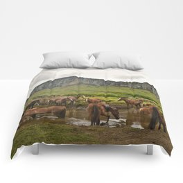 Wild horses on Easter Island Comforters