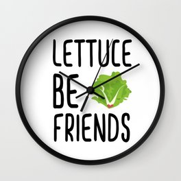 Lettuce Be Friends #lettuce #illustration #veggie #vegan #friends #green #veggiegift Wall Clock