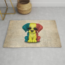 Cute Puppy Dog with flag of Romania Rug