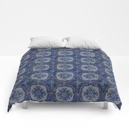 Vintage blue ceramic tiles pattern Comforters