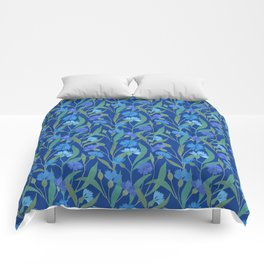 Cornflower field on bright blue Comforters