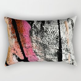 Motivation [2] : a colorful, vibrant abstract piece in pink red, gold, black and white Rectangular Pillow