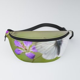 White Butterfly Natural Background Fanny Pack