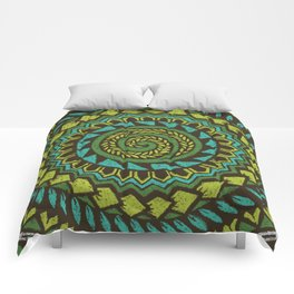 Retro Abstract 60s 70s Polynesian Tattoo Pattern Vintage Green Comforters