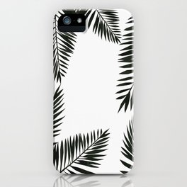 Black Watercolor Tropical Leaves iPhone Case
