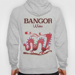 Bangor Wales dragon travel poster Hoody