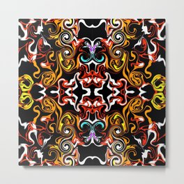 psychedelic Pattern red orange and gold Metal Print