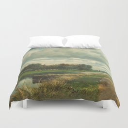 Landscape in the Environs of The Hague - Willem Roelofs (I) (1870-1875) Duvet Cover