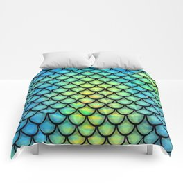 Blue green sclaes Comforters