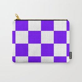 Large Checkered - White and Indigo Violet Carry-All Pouch