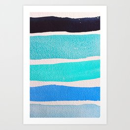 Bright Blue Sea Ribbons Art Print