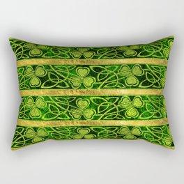 Irish Shamrock -Clover Gold and Green pattern Rectangular Pillow