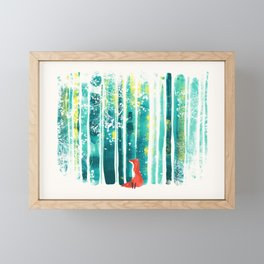 Fox in quiet forest Framed Mini Art Print