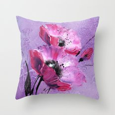 Pavot mauve Throw Pillow