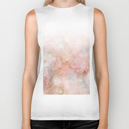 Beautiful Pink and Gold Ombre marble under snow Biker Tank