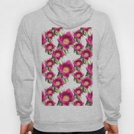 Pink Tulip Pattern, Bright Large Fuchsia Flowers With Yellow Center and Green Leaves Hoody