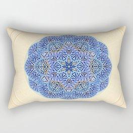 Blue Morocco Tile Mandala Rectangular Pillow