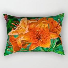Orange Tiger Lilies - The Peace Collection Rectangular Pillow