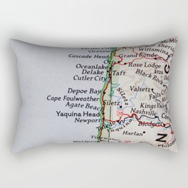 Vintage Oregon Coast Map #traveller #wanderlust #Pacific Rectangular Pillow
