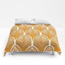 Orange,white,art deco, vintage,fan pattern, art nouveau, vintage, Comforters