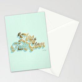 Zero F*cks Given – Powder Blue & Gold Palette Stationery Cards